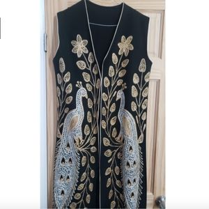 Vintage Floral Peacock Embroidered Overcoat Coat